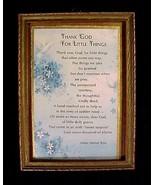 Motto Print Thank God For Little Things Helen Steiner Rice Vintage Frame... - $17.95