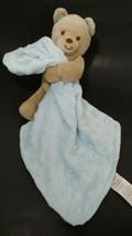 Carters Child Of Mine tan Plush Bear Rattle w/ Security Blanket Blue Minky Dot  - $8.01