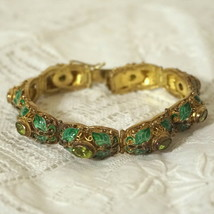 Superb Chinese Export Fine Gold on Sterling Enamel Peridot Panel Bracele... - $600.00