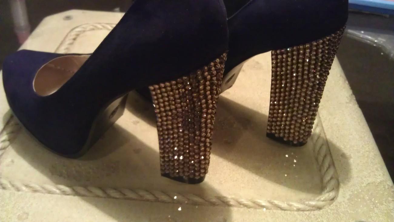Custom Made Black & Gold Sparkle Swarovski Rhinestone Heels ~ Wedding Style Also