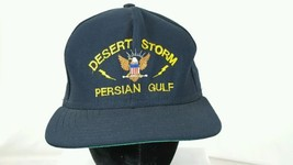 Vintage Desert Storm - Persian Gulf Snap Back Black Hat OS USA Ball - $9.74