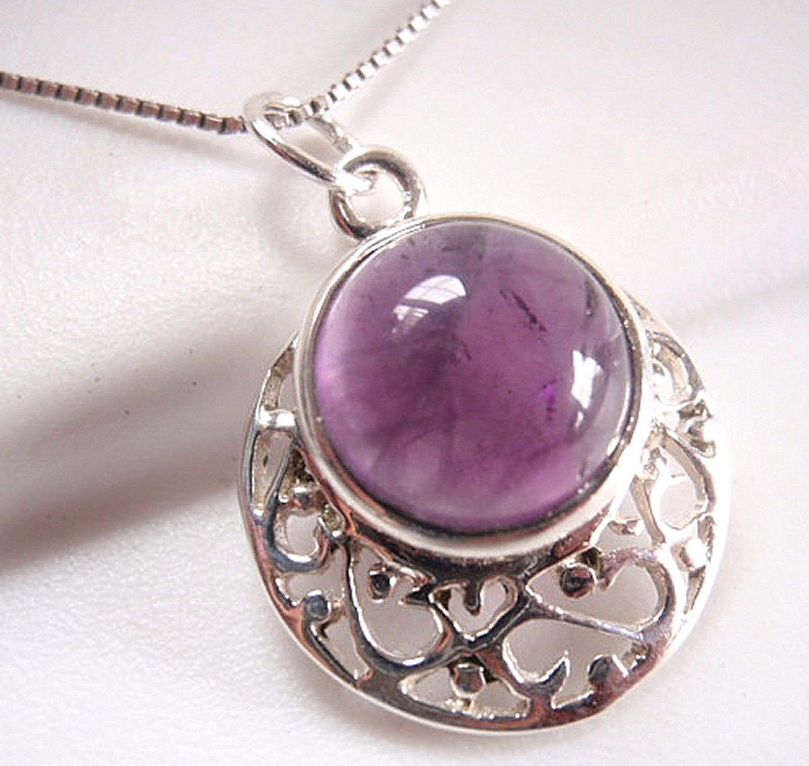 Primary image for Amethyst Filigree 925 Sterling Silver Necklace Round Circle New