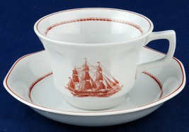 2 Wedgwood Flying Cloud Rust Cup & Saucer Sets Game Cock Clipper Ship - $12.00