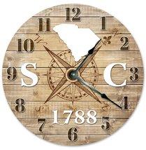 Sugar Vine Art South Carolina Established Silent Non Ticking Round Battery Opera - $20.69