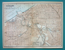1899 MAP by Baedeker - USA CLEVELAND City Plan ... - $13.86