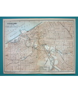 1899 MAP by Baedeker - USA CLEVELAND City Plan Ohio + Railroads - $13.86