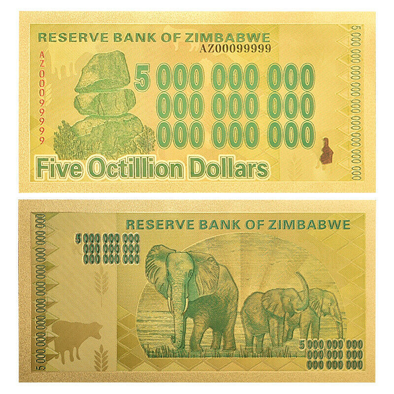 WR 10pcs Zimbabwe 5 Octillion Dollars Color Gold Banknote Money Collection +COA