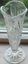 Royal Irish 24% Lead Crystal Bud Vase with product label - $9.00