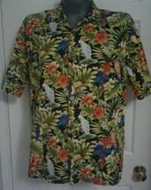 Men's Hilo Hattie Green & Black Toucans Cockatiels Flora Hawaiian Shirt ... - $15.23