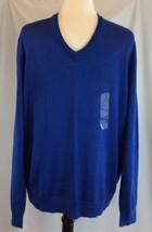 Club Room Men's Merino Wool Blend Blue V-Neck Sweater Size Large NWT - €32,03 EUR