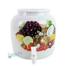 Water Crock Dispenser Tropical Fruit Ceramic Porcelain Pot Spigot Faucet... - $44.87