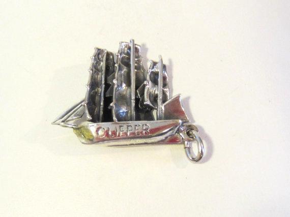 Vintage Sail Boat Ship sterling silver pendant