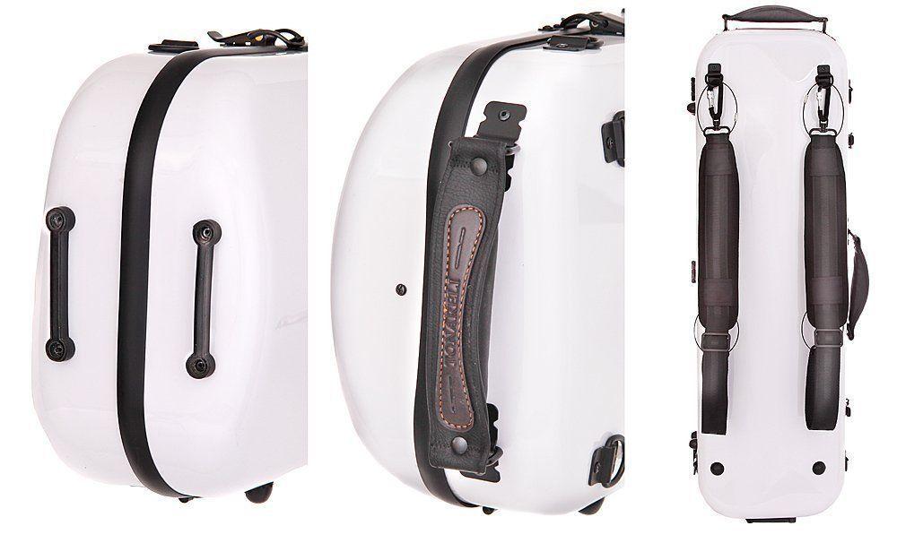 TONARELI Fiberglass Violin 4/4 OBLONG Hard Case - White with red Stitching