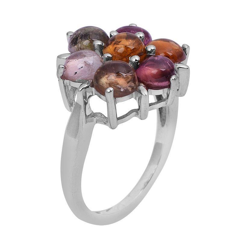 0.45 Ct Multi Tourmaline Shining Gemstone 925 Sterling Silver Ring Sz K SHRI0753