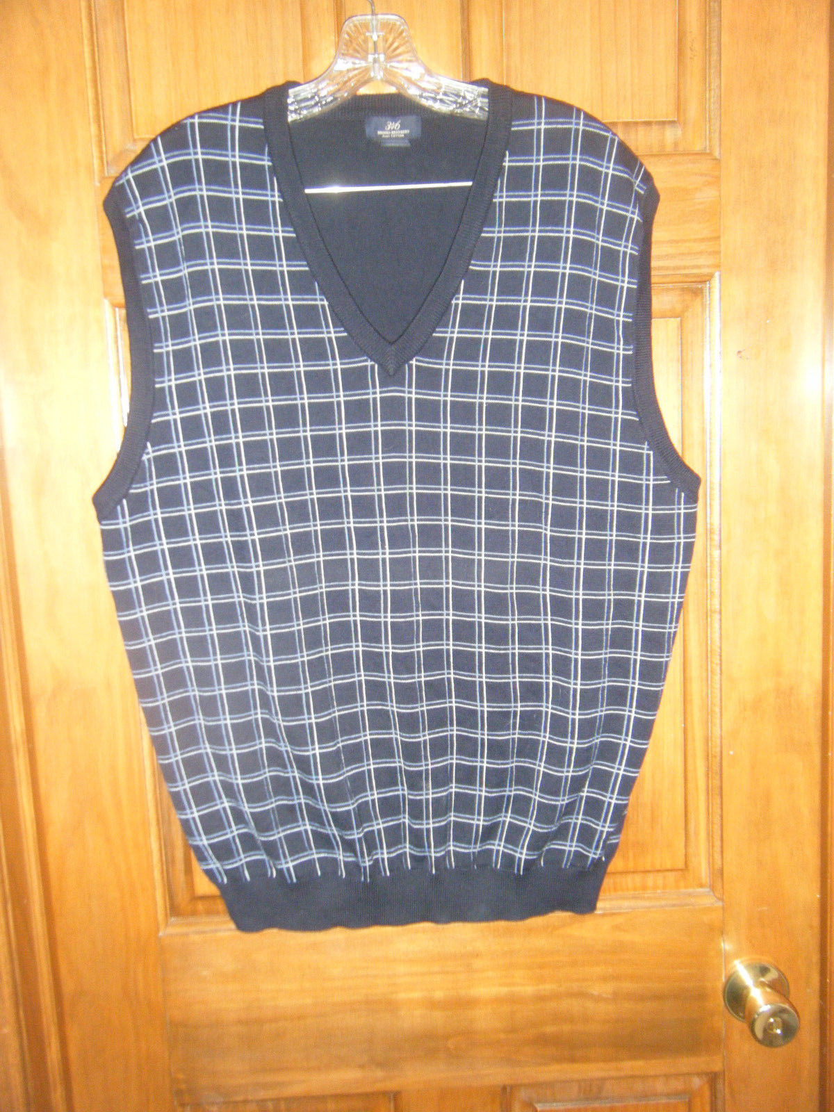 Primary image for Brooks Brothers 346 Navy Blue Pima Cotton Plaid Golf Sweater Vest - Size XL