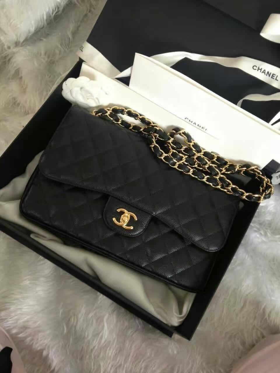 BNIB Authentic Chanel Black Jumbo Caviar Double Flap Bag Gold Hardware