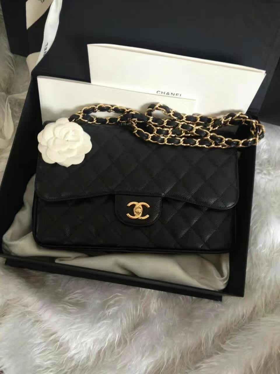 BNIB Authentic Chanel Black Jumbo Caviar Double Flap Bag Gold Hardware