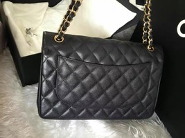 BNIB Authentic Chanel Black Jumbo Caviar Double Flap Bag Gold Hardware image 4