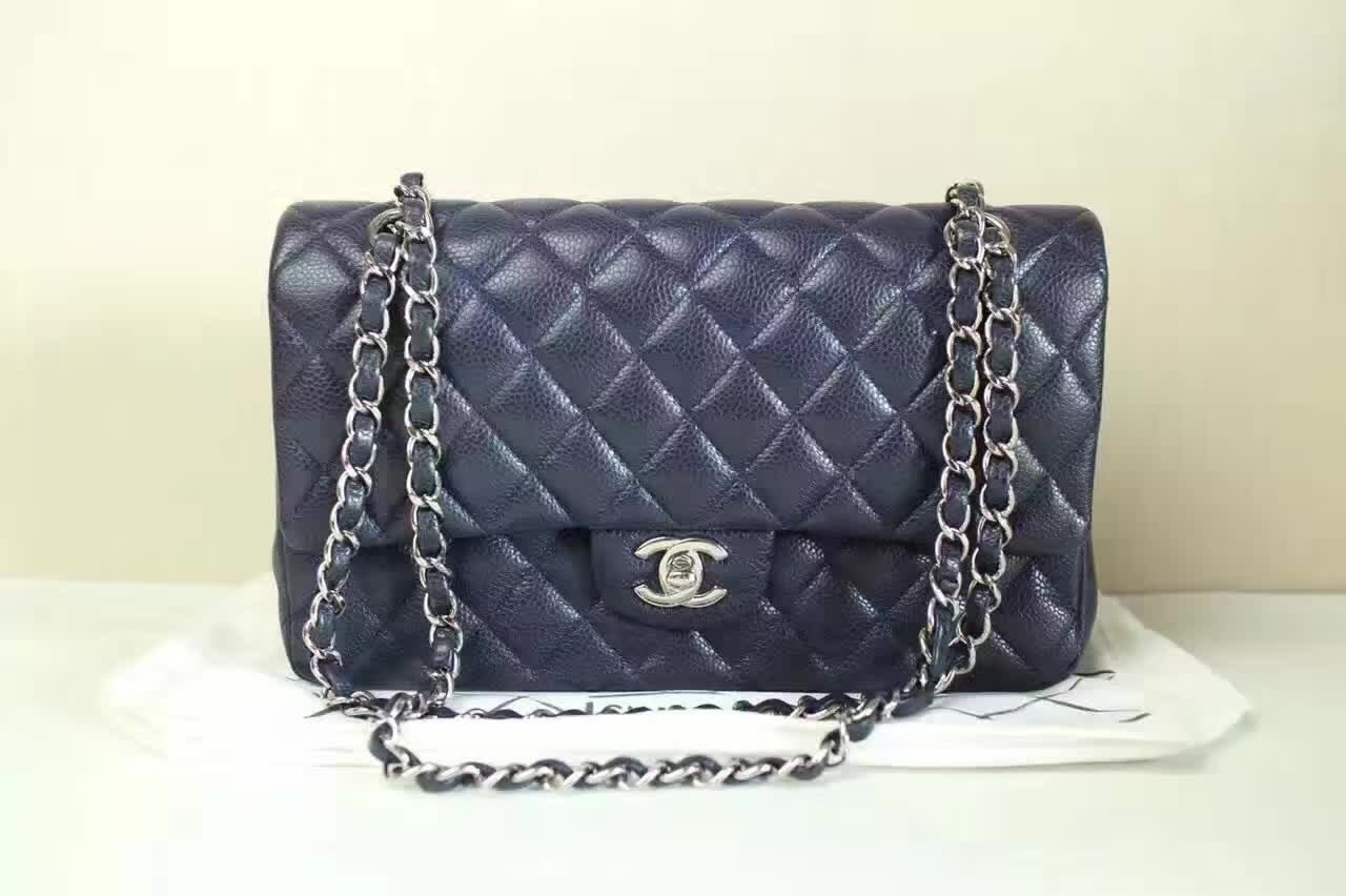 Authentic Chanel Navy Medium Caviar Double Flap Bag SHW