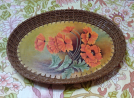 Vintage Small Wood & Wicker Red/Orange POPPY Design Basket Tray // Bread Basket - $12.95