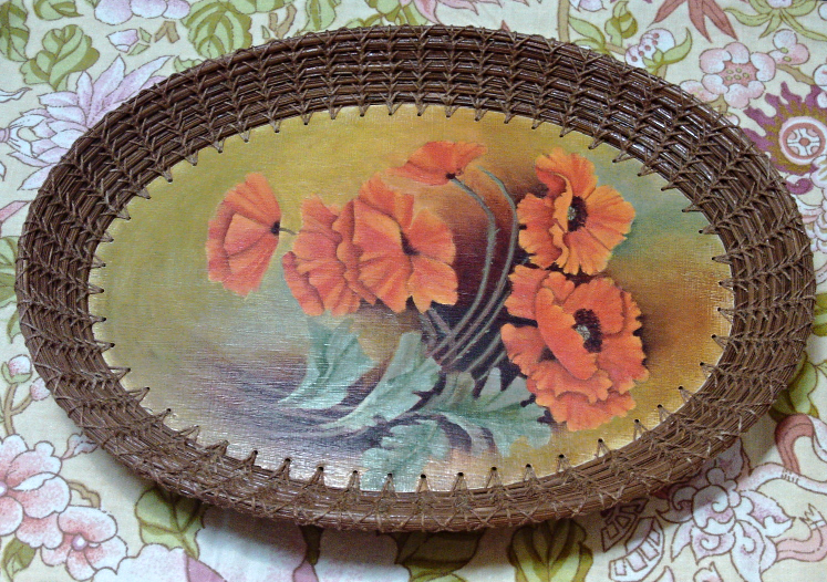 Vintage Small Wood & Wicker Red/Orange POPPY Design Basket Tray // Bread Basket