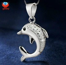 926 Sterling Silver Dolphin Pendant with Cubic Zirconia and 925 SS Chain - $29.99