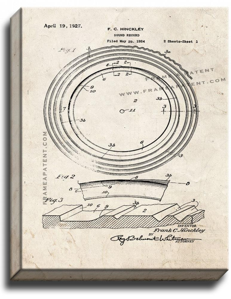 Primary image for Sound Record Patent Print Old Look on Canvas