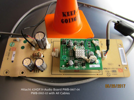 HITACHI 42HDF39 Audio Board PWB-0807-04 PWB-0905-03 with All Cables - $14.03