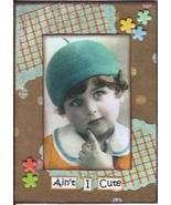 ACEO ATC Art Collage Women Ladies Child Children Boy Girl Blue Hat Ain't... - $5.00