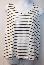 Cool New Womens Plus Size 3X White Black Striped W Pink Zip Up Back Tank Top* - $11.55