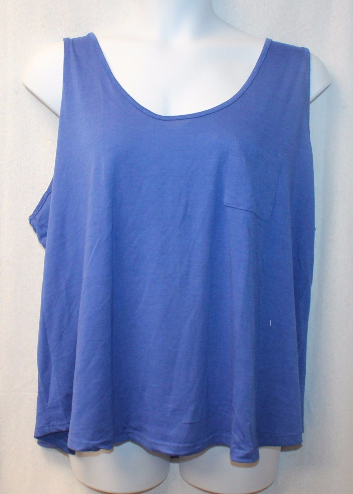 COOL NEW WOMENS PLUS SIZE 3X PRETTY BRIGHT BLUE ZIP UP ZIPPERED BACK TANK TOP - $13.54