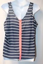 New Womens Plus Size 3X Navy Blue W White Stripes & Peach Zipper Zip Up Tank Top - $13.54