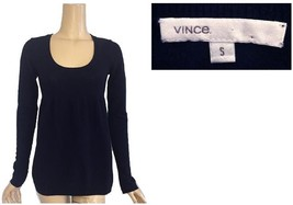 Vince Navy Blue Scoop Neck Empire Waist Cashmere Sweater S - $62.00
