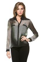 High Secret Women's Long Sleeves, geometric print blouse, M, Green - $39.00