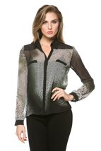High Secret Women's Long Sleeves, geometric print blouse, L, Green - $39.00