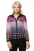 High Secret Women's Long Sleeves, geometric print blouse, M, Purple - $39.00