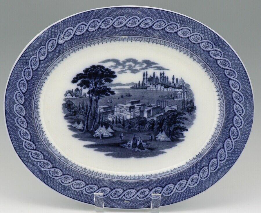 "Cauldon English Blue Transfer Ware Byzantium 15"" Platter c.1900"