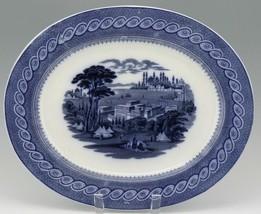 "Cauldon English Blue Transfer Ware Byzantium 15"" Platter c.1900 image 1"