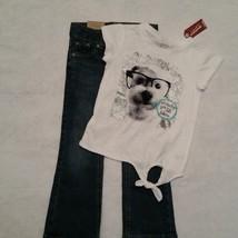 Girls Arizona Glitter Dog Shirt & Sonoma Adjustable Bootcut Jeans Outfit Size 4 - $17.50