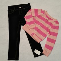 Girls Pink Cardigan Sweater & Jeggings Jeans Outfit Sonoma One Step Up Size 4 - $18.29