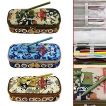Tank Style Pen Box Camouflage Oxford Canvas School Pencil Case Bag For B... - $11.01