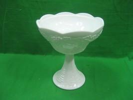 Vintage White Milk Glass Candy Dish Bowl on Pedestal Scalloped Perimeter... - $13.98