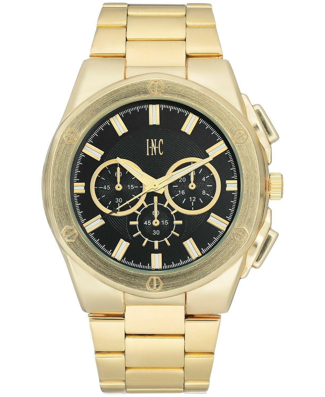 I.N.C. Men's 44.5mm Black & Gold Tone Sub Dial Link Bracelet Wrist Watch NIB