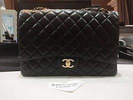 Authentic Chanel Black Maxi Double Flap Lambskin Bag Gold HW