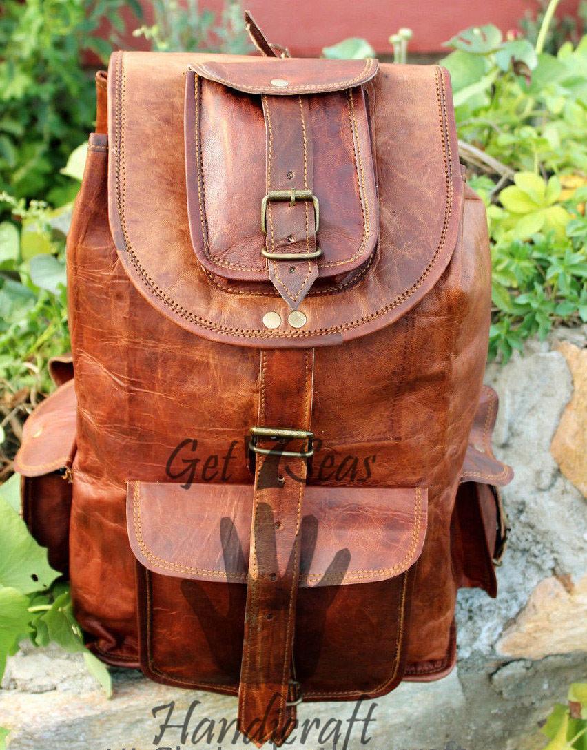 Real genuine men's leather backpack bag laptop briefcase satchel brown vintage image 5