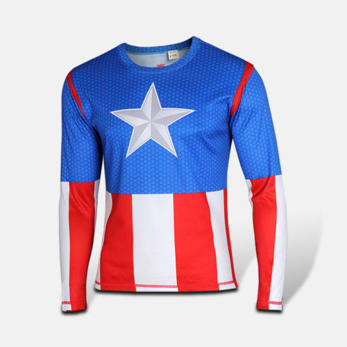 12. 12. Previous. Men Costume T-shirt Fit Top Marvel DC Comics Jersey  Cycling Top Captain America f301c00c6