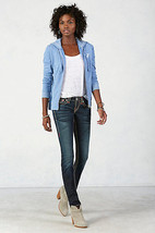 New Womens True Religion Brand Jeans Dark Blue 26 NWT Super T Skinny Flap White image 2