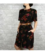 Vintage 90s button up Size 12 black floral womens dress with pockets - $28.99