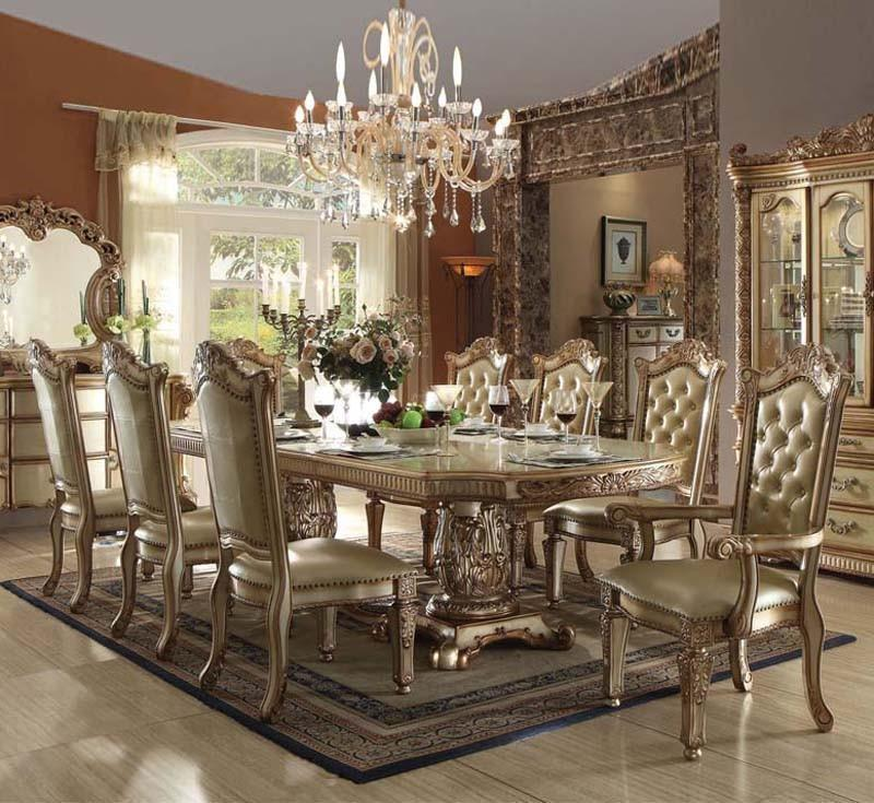 Acme Furniture Vendome 63000 Baroque Gold Patina Dining
