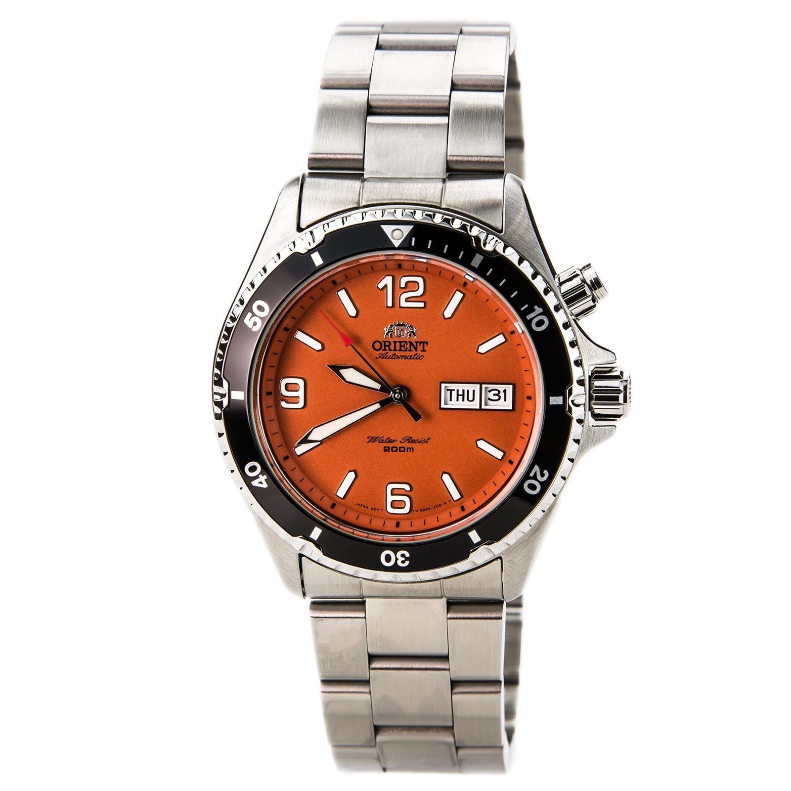 Orient men 39 s fem65001mw orange mako stainless steel - Orange dive watch ...